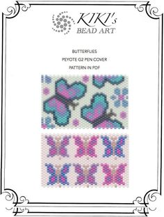 Peyote pen cover patterns- butterflies, peyote patterns set of 2 for pen wrap -for G2 pen by Pilot-in PDF instant download