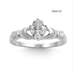 Buy 925 Sterling Silver Lrish Claddagh White Heart Sapphire Gemstone Ring at Wish - Shopping Made Fun Celtic Wedding Rings, Celtic Rings, Claddagh Rings, Silver Claddagh Ring, Diamond Jewelry, Jewelry Rings, Jewellery, Silver Jewelry, Silver Earrings