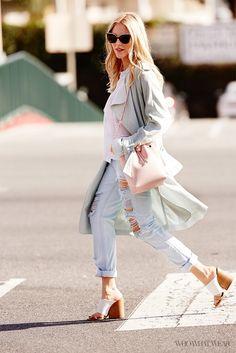 Shea Marie  of Peace Love Shea models a draped coat with boyfriend jeans and white mule heels