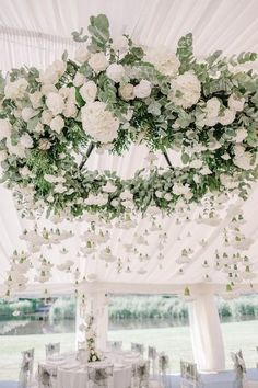 hanging greenery and white flower wedding chandelier decoration