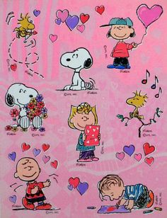 Items similar to Vintage Hallmark stickers sheet,Snoopy Peanuts Gang Valentine, United Feature Syndicate.