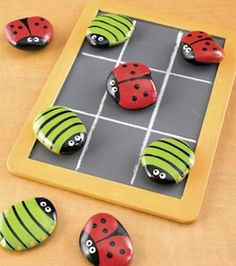 Cute idea for DIY indoor/outdoor games. For outdoors, I'd spray paint chalkboard paint over a LARGE framed painting, the kind you pick up for a buck at a yard sale. Then get good size round rocks. A little more fun when you have an outdoor party with a larger group of people. Make sure there are drinks and even adults would have sooooo much fun with old tic tac toe!