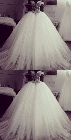 Crystal Beading Princess Romatic Wedding Dresses, Tulle Ball Gown, - -Gorgeous Crystal Beading Princess Romatic Wedding Dresses, Tulle Ball Gown, - - Lavish Tulle Sweetheart Neckline Basque Waistline Ball Gown Wedding Dress With Lace Appliques & Bead. Fall Wedding Dresses, Princess Wedding Dresses, Wedding Attire, Bridal Dresses, Wedding Gowns, Tulle Wedding, Crystal Wedding, Princess Bridal, Bling Wedding