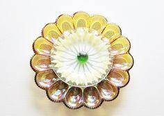 Garden Art Yard Decor Vintage Sunflower Sun catcher made with amber glass egg plate