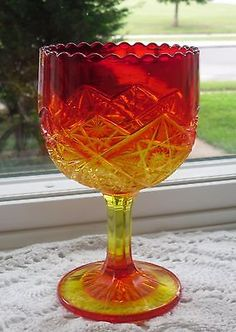 amberina glass | VINTAGE VIKING RED AMBERINA GLASS GOBLET COMPOTE CANDLE HOLDER VASE ...