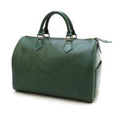 Louis Vuitton Speedy 30 Epi Handle bags Green Leather M43004