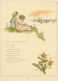 "Little boy and girl sitting on a hill, watching ships at sea.  ""When You and I Grow Up"" poem, c. 1910."
