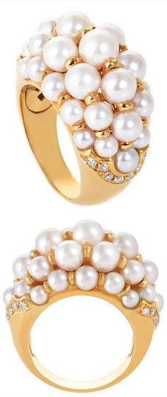 *Cartier Pearl Diamond Yellow Gold Cocktail Ring, This festively designed ring from Cartier is sumptuous and distinct. The ring is made of 18K yellow gold and is set with white pearls and ~.35ct of diamonds. 20th Century.