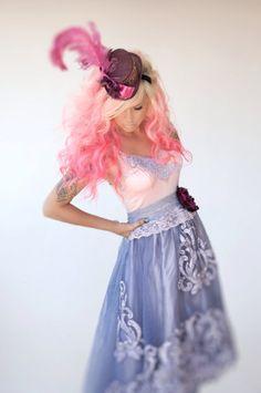 eggplant blue violet soft pink embroidered beaded cut work organza wedding dress by mermaid miss k