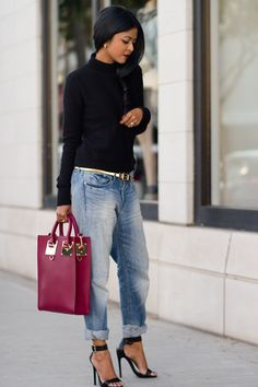 Boyfriends jeans , gold belt, and some cute black wedges= cute outfit. Summer Outfits 2014, Fall Winter Outfits, City Outfits, Casual Outfits, Fashion Outfits, Only Fashion, Love Fashion, Spring Summer Fashion, Autumn Winter Fashion
