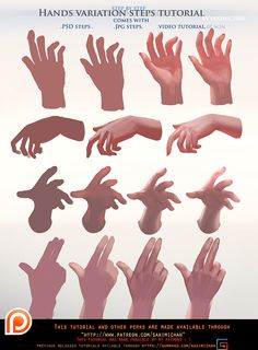 Painted Hands variation steps tutorial pack .promo by sakimichan.deviantart.com on @DeviantArt