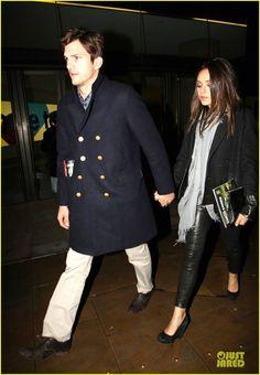 Mila Kunis and Ashton Kutcher in London.  April 2013.