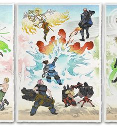 'Fallen Blossoms, New Life' Giclee Print - Ukiyo-e Heroes Japanese Drawings, Japanese Art, Old Men With Tattoos, Samurai Artwork, Overwatch Comic, Modern Asian, Japanese Games, Great Backgrounds, Superhero Design