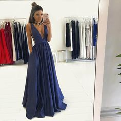 Sexy Deep V-neck Evening Dress Long A Line Prom Dresses Graduation Party Dresses For Teens Navy Blue Formal Dress
