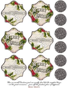 "Silver glitter, Merry Christmas printable ~ includes 1.5"" circles, approx 3"" tags/labels."