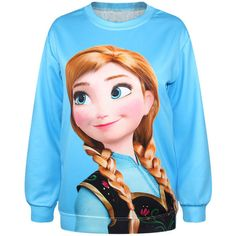 Jade Blue Frozen Anna Print Long Sleeve Sweatshirt ($20) ❤ liked on Polyvore featuring tops, hoodies, sweatshirts, shirts, sweaters, blue, long sleeve sweatshirt, longsleeve shirts, sweat shirts and blue sweatshirt