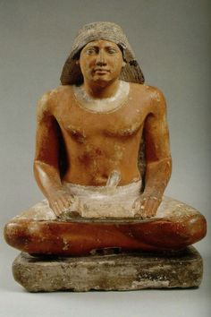 Scribe: Fifth Dynasty of Egypt (approximately from 2494 to 2345 BC), painted limestone, Egyptian Museum, Cairo