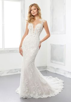 Fit to flare wedding dress in net over Chantilly lace with sweetheart neckline, sheer cap sleeves and detachable long pouf sleeves. Wedding Dresses Photos, Bridal Wedding Dresses, Wedding Dress Styles, Designer Wedding Dresses, Wedding Attire, Lace Wedding, Mori Lee Bridal, Essense Of Australia, Perfect Wedding Dress