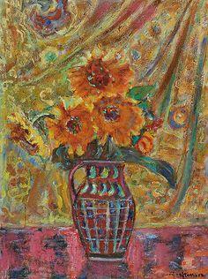 Czesław RZEPIŃSKI (1905-1995)  Kwiaty w dzbanie olej, płótno; 73 x 54 cm;