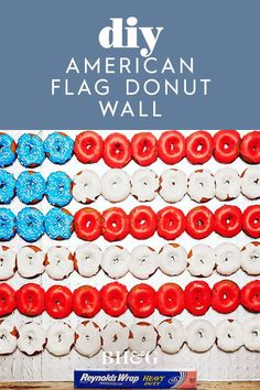 What better way to celebrate the than with red, white and blue desserts? This flag-inspired donut display serves as both a tasty treat and a festive decoration! Blue Desserts, Festival Decorations, Independence Day, Fourth Of July, Yummy Treats, American Flag, Donuts, Red And White, Festive