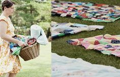 everybody grabs a picnic blanket from the basket for the reception or even for the actual wedding ceremony