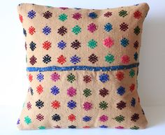 Embroidered Striped Floral Handwoven Turkish Kilim Pillow Cover/ Organic Shine Society- home decor for the tribal modern bohemian