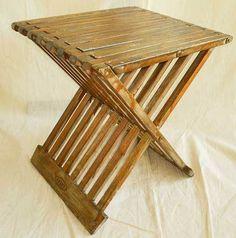 Vintage Mid Century Modern Wood X Base Slat Bench Stool Table Injoi Miami