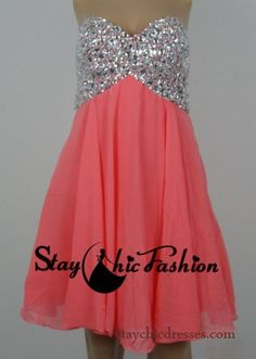 Sparkly Coral Short Rhinestone Beaded Top Empire Waist Prom Dress Sale