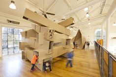 Corrugated cardboard kids' play space.  This temporary children's space at ArtPlay, Federation Square, is from an ongoing collaboration between Monash University and the City of Melbourne.