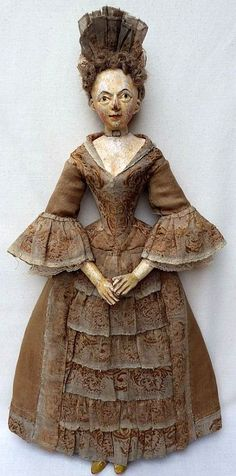 A very rare very early German wooden doll - She almost looks like a portrait doll - she has so much personality