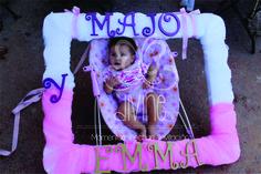 Mega marco para fiesta de niñas en tul y letras de madera