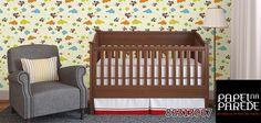 Papel de parede para quarto. Um papel de parede pode fazer toda a diferença na decoração do quarto do bebê. É uma forma fácil de dar ao quartinho aquele charme, sem ter que se preocupar com muitos detalhes.