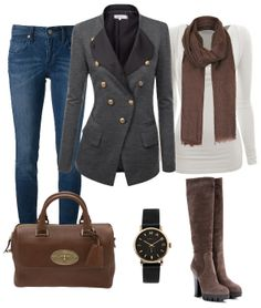 Love the jacket, top and scarf.  Like color of jeans, but don't really like that pencil-y