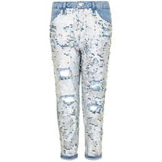 TopShop Moto Shimmer Sequin Hayden Jeans ($125) ❤ liked on Polyvore featuring jeans, multi, distressing jeans, distressed jeans, sequin jeans, ripped blue jeans and sequin ripped jeans