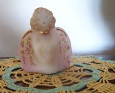 Hand Painted by Fenton | Hand Painted ...FENTON ..Guardian Angel Satin Glass Figurine..