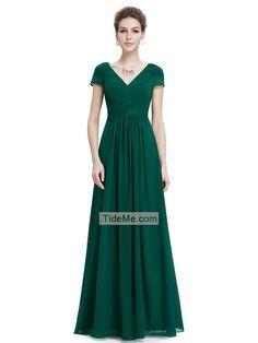 Short Sleeves V Neck Green Chiffon A Line Floor Length Cheap Long Prom Dress