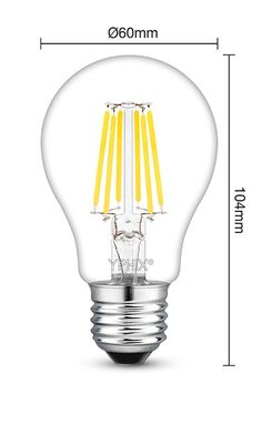 Dimbare filament E27 LED lamp Atlas 7,5 Watt, vervangt 60W gloeilamp