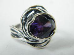 Shablool Didae Sterling Silver Ring Cubic Zirconia Purple Ladies Women