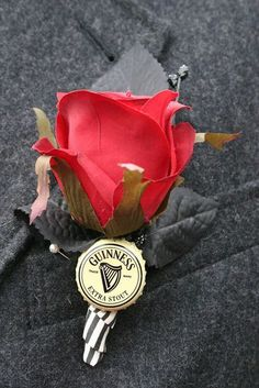 So your groomsmen or bridesboys like beer. And they need a boutonniere. Your solution? Add a beer cap from their favorite brew to their boutonniere! For more related inspiration, be sure to check o...