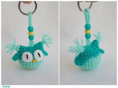 Summer Gift Turquoise Keychain Amigurumi Owl Cool Bag Charm Tiny Owl Plush