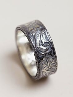 Nonnative Men S Western Flower Silver Ring Wedding Rings