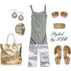 Grey with gold accessories