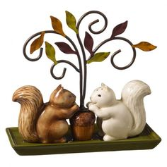 Squirrel with Holder Salt and Pepper Shaker Set