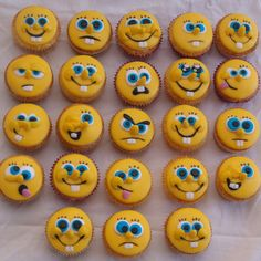 Spongebob Squarepants Faces Cupcakes Kimi C. Spongebob Birthday Party, Birthday Parties, Spongebob Torte, Spongebob Spongebob, Mademoiselle Cupcake, Sponge Bob Cupcakes, Cupcake Heaven, Beautiful Cupcakes, Winnie