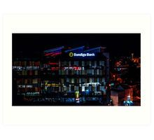 Bendigo Bank Sign at Night Time - Bendigo, Victoria Art Print