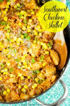 Southwest Skillet Chicken And Rice - delicious one pot meal under 30 minutes. This easy to make chicken dish uses store bought salsa and other yummy flavors