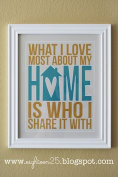 I am all about framing pictures and quotes throughout my home. This Subway art print would look good anywhere and describes exactly what I love about my home.