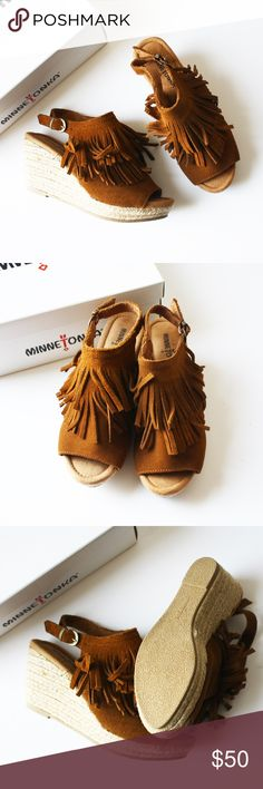 [Minnetonka] leather fringe bootie wedge Minnetonka brand leather fringe wedge bootie. Open toe and back. Buckle fastener. Soft brown leather. Brand new with box. Minnetonka Shoes Ankle Boots & Booties