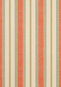 Bohemian Stripe #wallpaper and coordinating #fabric in Mandarin from the #Monterey collection by #Thibaut