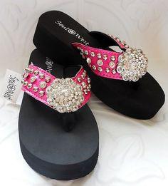 Soul West Bling Rhinestone Silver Flower Concho Hot Pink Flip Flops Size 9 | eBay $26.99